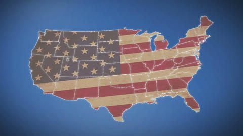 Unites States of America Map with Old Glory national flag Footage