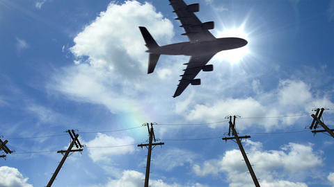 Airplane fly by sunny day blue sky. Aircraft passing by Live Action