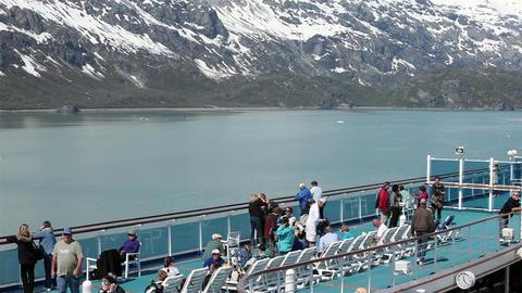 Cruise ship deck passengers Glacier Bay Alaska HD 1434 Footage