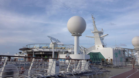 Cruise ship deck passengers and radar 4K Footage