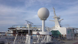 Cruise ship deck radar domes passengers 4K Footage