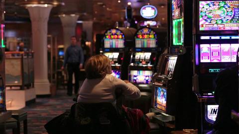 Cruise ship gambling casino slot machine HD 7729 Footage