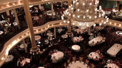 Cruise ship formal luxury dining room overhead 4K Live Action