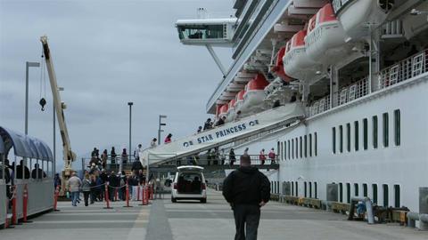 Cruise ship passengers boarding crew walks by HD 7659 Footage