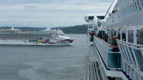 Cruise ship passing in Seattle Washington port bay HD 6843 Footage