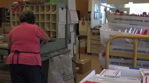 Dec US Post Office sorting room rural community Christmas 4K 028 Footage