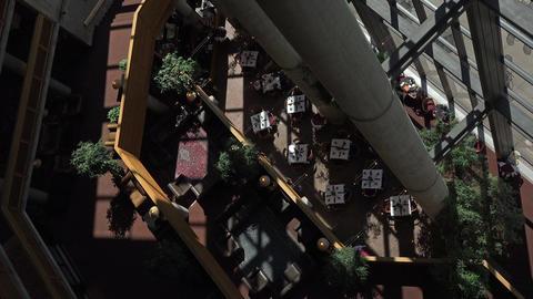 Dining room luxury mountain resort atrium 4K 056 Live Action