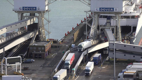 Dover England Ferry from France unloading trucks and cars fast 4K Footage