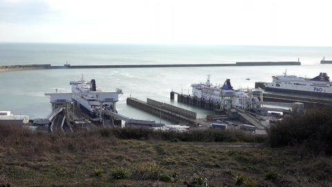 Dover England ferry and commercial cargo port 4K Footage