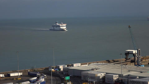 Dover England ferry arrives from France fast 4K Footage