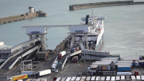 Dover England trucks exit ferry from France entry port 4K Footage