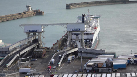 Dover England vehicles exit ferry boat at port 4K Footage