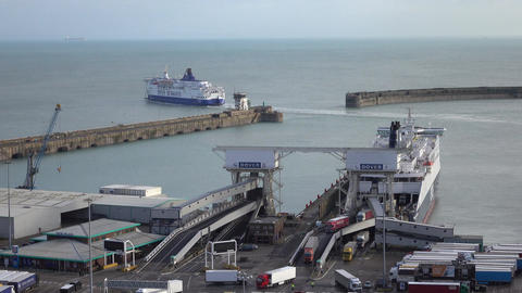 Dover England ferry cargo port unloading vehicles from France 4K Footage