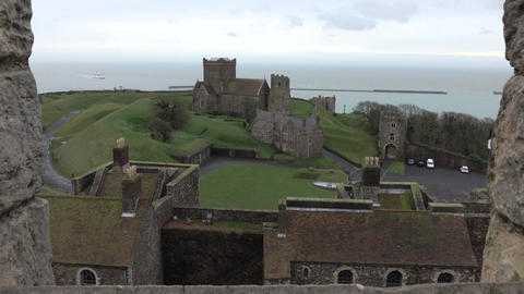 Dover medieval Church from Castle window ferry 4K Footage
