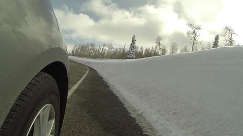 Drive mountain winter road wheel POV fast HD 0284 Footage