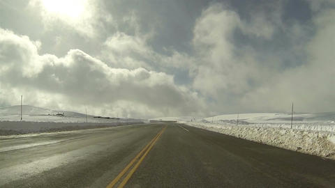 Driving POV high mountain winter snow HD 0278 Footage