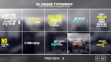 50 Unique Typogtaphy After Effects Project