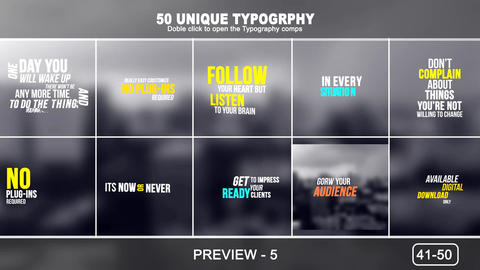 50 Unique Typogtaphy After Effects Template