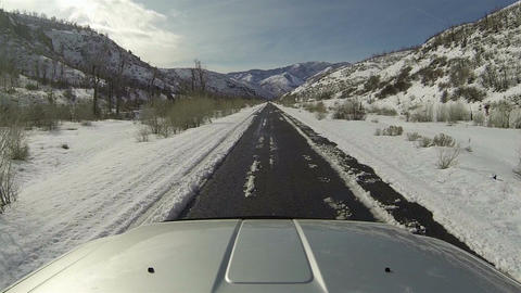 Driving truck winter mountain canyon road POV HD 0273 Footage