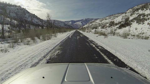 Driving truck winter mountain canyon road POV fast HD 0273 Footage