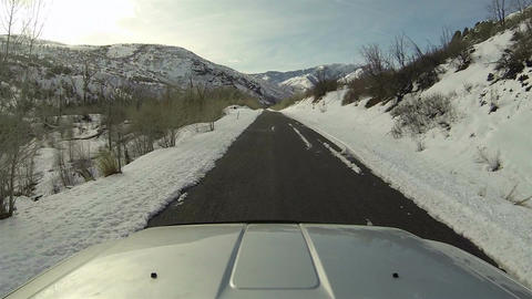 Driving winter mountain canyon snow ice POV HD 0274 Footage