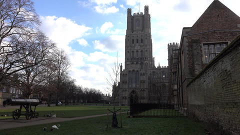 Ely England Cathedral city park 4K Live Action