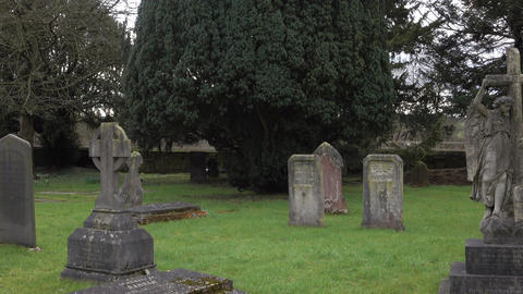 Ely England ancient church cemetery headstones 4K Live Action