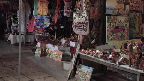 Falmouth Jamaica Caribbean souvenier shops 4K Footage