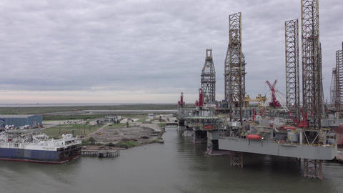 Galveston Texas off shore oil platforms industry 4K Footage