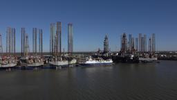 Galveston Texas off shore oil rigs in dry dock repair 4K Footage