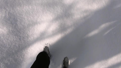 walking in snow pov GIF