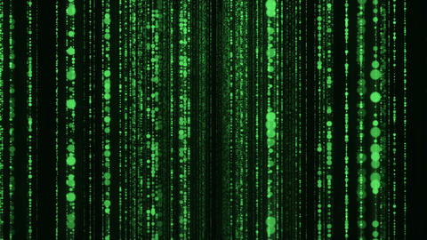 Camera navigating into vertical green data flow curtain background loop Animation