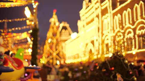 Beautiful crowded New Year and Christmas Bazaar, bokeh shot ライブ動画