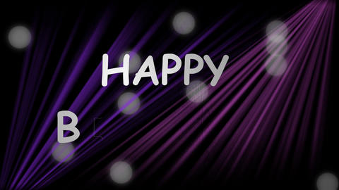Happy birthday banner with diagonal purple beams and blurry white bokeh lights Animation