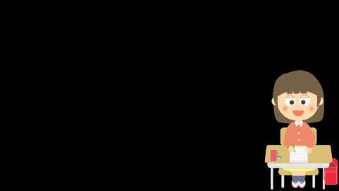 簡単な試験のアニメーション(小学生の女の子) CG動画