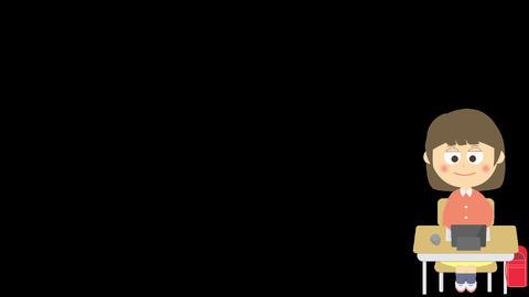 キーボード操作のアニメーション(小学生の女の子) CG動画