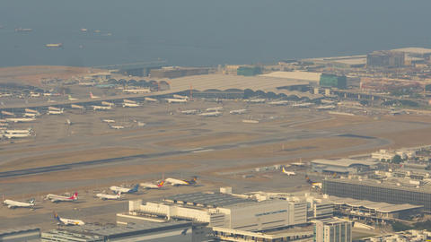 Aerial view at Chek Lap Kok airport, timelapse Live Action
