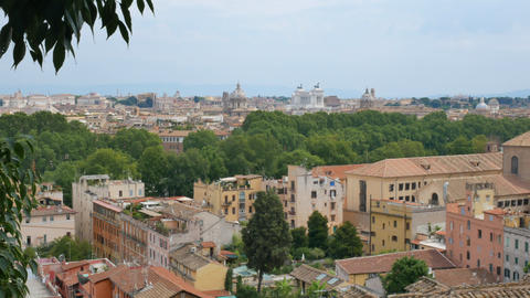 View from Janiculum Hill on the rooftops in Rome in the sunny day Live Action