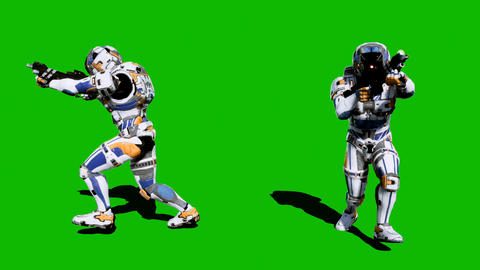 A lone soldier of the future runs with weapons on a green screen background Animation