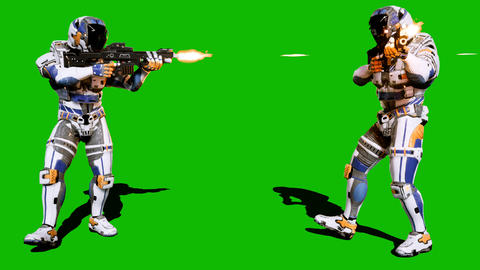 A lone soldier of the future attacks the enemy on the background of the green Animation