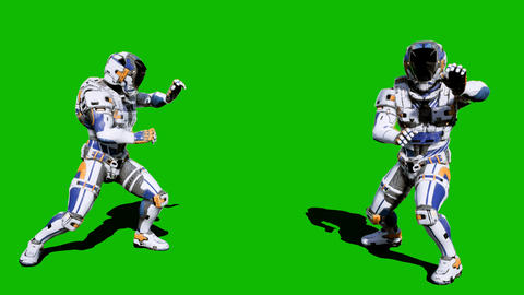 Cosmonaut-soldier of the future fights in front of the green screen. Looped Animation