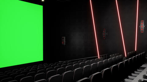 Cinema interior of movie theatre with blank movie theater screen with green Animation