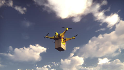 Autonomous package delivery by unmanned drone flying on a Sunny day Animation