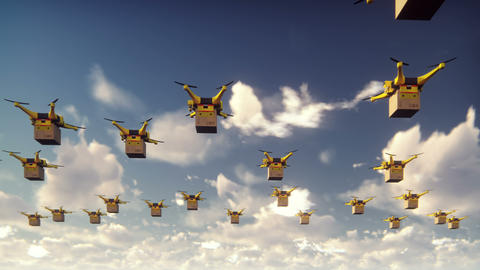 Autonomous delivery of parcels by unmanned drones flying on a Sunny day Animation