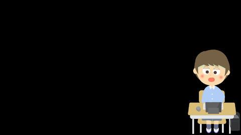 キーボード操作が苦手なアニメーション(小学生の男の子) CG動画