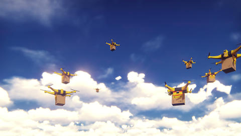 Autonomous delivery of parcels by unmanned quadrocopters flying on a Sunny day Animation