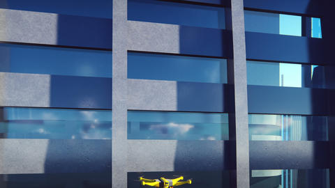 Autonomous delivery of parcels unmanned quadrocopter flying in a modern Animation