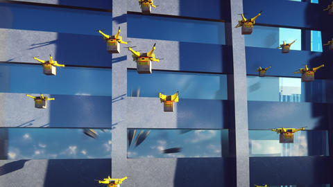 Autonomous delivery of parcels by swarm of unmanned quadrocopters flying in a Animation