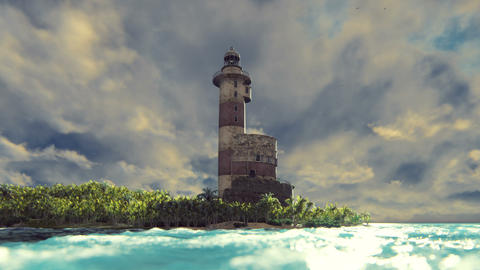 Old lighthouse on the coast at sunrise. Realistic cinematic looped animation Live Action