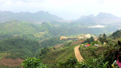 Beautiful landscape of Northern Vietnam, Indochina, Ha Giang extreme north loop Live Action